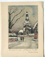 VINTAGE CHRISTMAS THE OLD CHURCH ENGLAND JOHN FRANCIS SMITH STONE LITHO ART CARD