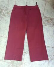 NEXT Burgundy Cotton Stretchy Cropped Trousers Size 12