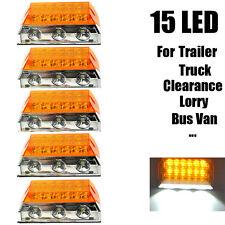 5X 15-LED Side Marker Light Clearance Lamps Amber Truck Trailer Tractor 12V 24V