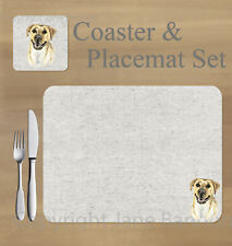 Labrador ,yellow,  placemat and coaster set    by Jane Bannon