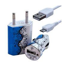 Mini Chargeur 3en1 Auto + Secteur USB + Câble Data avec HF25 pour HTC : One /
