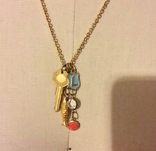 """plated necklace (fish, key, coral +crystal) """"L"""" initial + cluster of charms gold"""