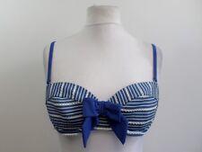 Señoras Fook Wah Azul a Rayas Bikini Top Talla 34 B Box4418 C