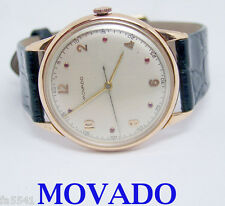 SWISS Solid 18k Rose MOVADO Winding Watch 1950s Cal 260 * EXLNT* SERVICED* RARE