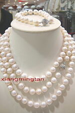 "AAAAA 36""9-10mm REAL south sea white pearl SETS necklace bracelet earring 14K"
