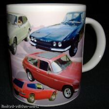 RELIANT SCIMITAR GTE CLASSIC CAR MUG. LIMITED EDITION WITH CARS HISTORY ON BACK