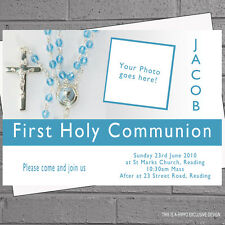 Boys 1st First Holy Communion Photo Childrens Party Invitations x 12 +envs H0220