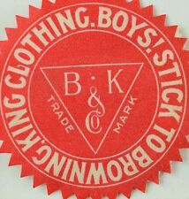 1880's-90's Browning, King & Co. Clothing, St Louis Die Cut Trade Card Label F92