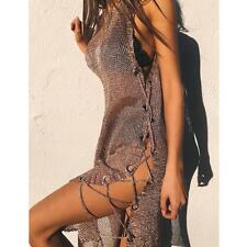 Women Sleeveless Transparent Bathing Suit Crochet Cover Up Beach Dress Nice