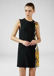 VERSACE 1595$ Savage Barocco Print Insert Shift Dress In Black