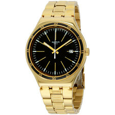 Swatch Men's Bullet Gold Tone Black Dial Swiss Quartz YWG403G Watch
