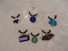 """""""LAS VEGAS"""" HAND CRAFTED Wine Glass Charms"""