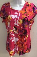 Blouse Top large l pink purple orange floral print bright short sleeves stretch