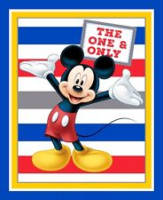 "Disney Mickey Mouse Character Stripe Cotton Fabric Springs CP63318 36""X44"" Panel"