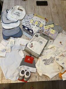 Job Lot Baby Boys Clothes Newborn - 3-6 Months Bnwt Bibs, Baby Grow s Sets