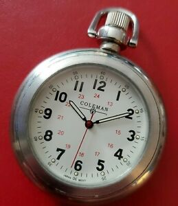 Vintage Coleman Open Faced Pocket Watch Lantern Case Back Cover with new Battery