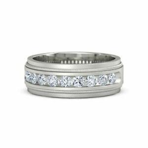 950 Platinum Real Diamond Men's Wedding Band Round Cut 0.60 Ct Size R S T U V1/2