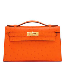 Hermes Tangerine Ostrich Exotic Mini Kelly Pochette Bag Orange