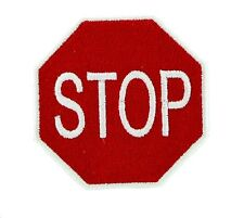 STOP PATCH PATCHES SIGNAL TRAFFIC STREET ROAD IRON ON EMBROIDERED APPLIQUE BIKER
