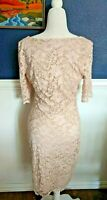 Belle Badgley Mischka Floral Lace Bodycon Dress Pink Nude Lined Size 10