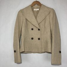 Escada Womens Blazer Size 36 Silk Wool Blend Beige Texture Double Breasted