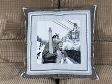Pillow Cover Jacquard  Woven Winter Sports Skiing made In France 18X18