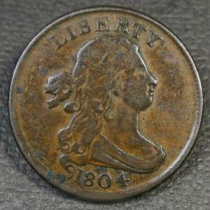 1804 Draped Bust Half Cent Plain 4 No Stems VF