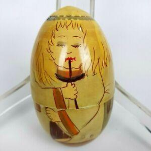 Uova Uovo in Legno Decorato a Mano da Collezione Soprammobile Scatola Box Retrò