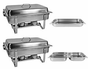 2 x Warmhaltebehälter Chafing Dish Speisewärmer 4 x  GN Einsätze Wärmebehälter
