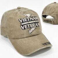 VIETNAM VETERAN BROWN MILITARY CAP HAT ADJ BACK LOW PROFILE 100% COTTON NEW