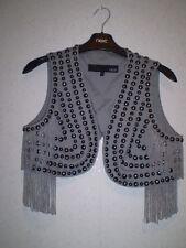 Gorgeous Next fringed, studded , lined grey waistcoat sz 12 vgc rrp £45