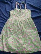 Lilly Pulitzer Dress Girl SZ 16 Beach Bums Sundress Hippos Pink Green Pockets
