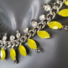 Ann Taylor Exotic Lemony Yellow Crystal STATEMENT Necklace Silver