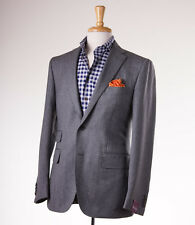 NWT $2795 SARTORIA PARTENOPEA Gray Mini Herringbone Wool Sport Coat Slim 44 R