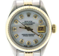 Rolex Datejust Lady 2Tone 14K Gold & Steel Watch White Mother Pearl Diamond 6917