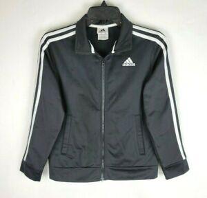 Adidas Youth Size M (10/12) Three Stripe Black White Full Zip Up Track Jacket