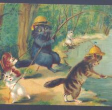 SCARCE..! BOULANGER CATS HELP PULL IN FISH,SPORT FISHING,BOAT,VINTAGE POSTCARD