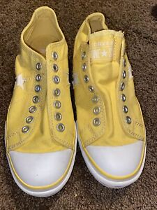 CONVERSE ONE STAR Yellow Canvas Laceless Slip On Low Sneakers Women's Size 9
