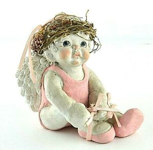 "Kristin Plaster Angel Pink Painted Eyes 4"" Figure Statue Tying Shoe Wreath Halo"