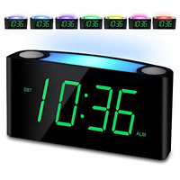 Alarm Clock, Large Number Digital LED Display with Dimmer, Night Light, USB Big