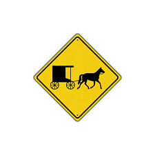 Horse-Drawn Buggy Vehicle with Symbol Traffic Metal Aluminum Sign 12x12