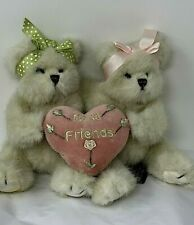 """Bearington Berry Best Friends Plush Pair of Bears Holding Heart Soft Jointed 8"""""""