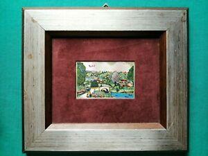Quadro - Paesaggio calabrese, Maiolo - Serigrafia su argento - 30,5x26,5 cm
