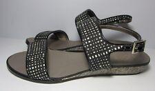 Ann Taylor Loft Black white low wedge Sandals Shoe Size 8 M