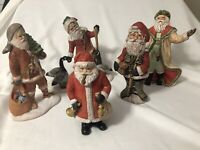 Hand Painted Ceramic Santas Lot of 5 Figurines Christmas 1990's