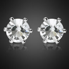 Round Cut Fine Clear Topaz 18K White Gold Plated Ring Earring