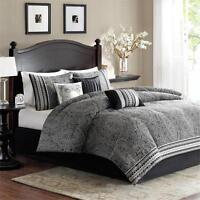 + Luxury Black Grey Cal King Queen Jacquard Comforter 7 pcs Bedding Set