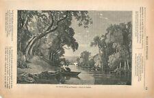 Pierre-Eugène Grandsire Paysage rivière avec deux bateaux Pêcheurs GRAVURE 1869
