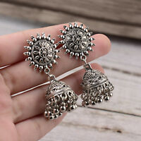 Fashion Women's Silver Antique Ethnic Small Bell Drop Indian Bollywood Earrings