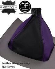 Black & púrpura grano superior de cuero real Gear Polaina se ajusta Alfa Romeo Brera 06-2011
